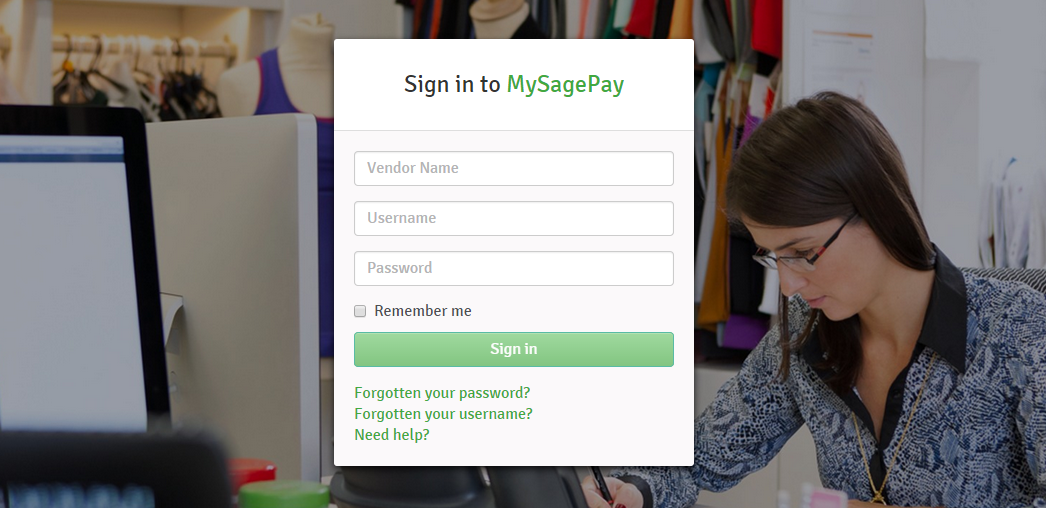 MySagePay login screen