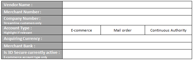 Current Merchant Account Details